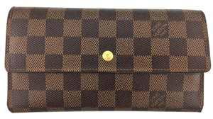 Louis Vuitton #11546 Damier Ebene long large Flap Trifold Wallet Pocket Card bill