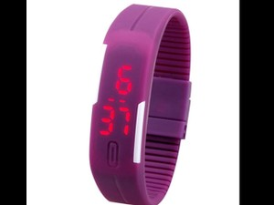 Silicone PURPLE SILICONE TOUCH SCREEN LED DIGITAL WATCH. SPORTS/ working out