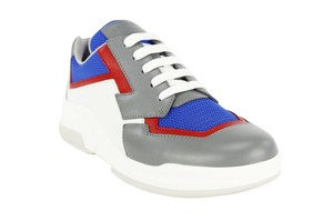 Prada Lace Up Fashion Leather Sneakers Women Blue Athletic