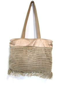 Fendi Shantung Crocheted Spring Summer Tote in Beige/Gold