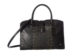 Coach Rivets Studs Convertible Satchel in BLACK