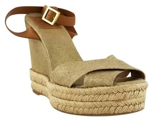 59d1a8406 Tory Burch Timeless Style Fun Comfortable Neutral and Tan Wedges