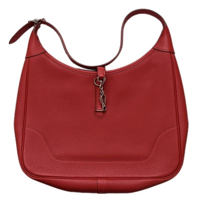 """Item - Trim """"Jackie O """" In .31 Cm .circa:2002 :f Square Year .pristine Dust Red Leather Hobo Bag"""