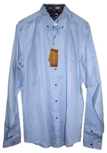 Gucci Blue Men's Long Sleeves Button Down Dress Guccissima 44.5 17.5 Shirt