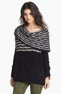 Free People Cowl Neck Striped Sweater