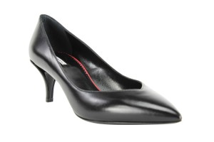 Emporio Armani Pointed Toe Leather Kitten Women Black Pumps