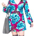 Leith short dress maroon and blue Feminine Floral Mini Lush Long Sleeve Mini on Tradesy