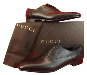 Gucci Men's Cork Black Leather Script Logo Dress Lace Up Oxfords 14.5 15.5