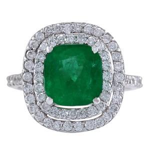 Fashion Strada 3.74CTW Natural Emerald And Diamond Ring In 14K White Gold