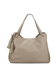 Tory Burch Thea Center Zip Leather Tote in French Gray