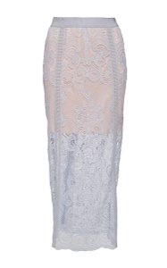 alice McCALL Sheer Lace Concealed Back Zip Imported Skirt Powder Blue and Nude