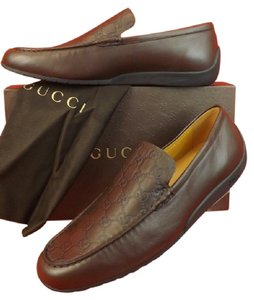 Gucci Men's San Marino Chocolate Leather Guccissima Driving Loafer 11.5 12.5