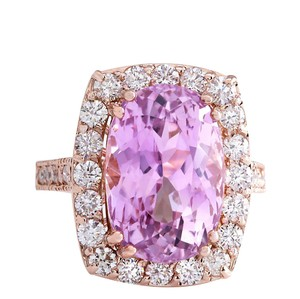 Fashion Strada 12.33CTW Natural Kunzite And Diamond Ring 14K Solid Rose Gold