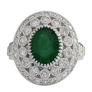Fashion Strada 3.09CTW Natural Emerald And Diamond Ring In 14K White Gold