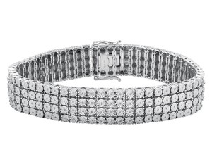 Other .925 Sterling Silver 4 Row Prong Set Fanook Style Diamond Bracelet 2ct