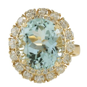 Fashion Strada 7.53CTW Natural Aquamarine And Diamond Ring In 14K Solid Yellow Gold