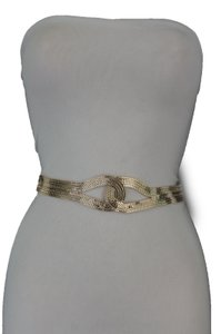 Other Women Gold Braided Metal Trendy Belt Hip High Waist Infinity Plus Size
