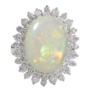 Fashion Strada 5.86CTW Natural Australian Opal And Diamond Ring In 14K Solid White Go