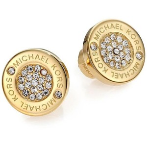 Michael Kors New Michael Kors Round Gold Pave Stud Earrings with Dust Cover