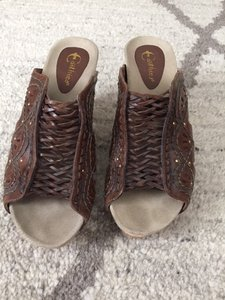 Earthies Moroccan Cutout Leather Studded Clogs Brown Sandals