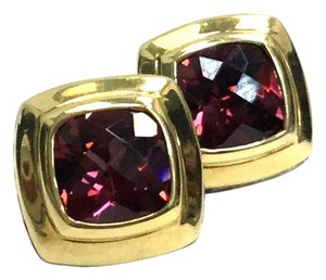 David Yurman David Yurman 18kt Yellow Gold Sterling Rhodolite Garnet Post Earrings