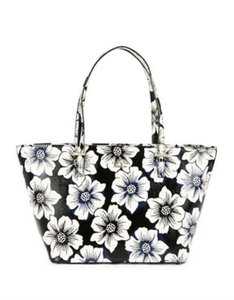 Kate Spade Floral Floral Harmony Tote in Black/white
