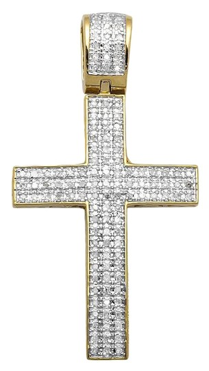 Preload https://img-static.tradesy.com/item/21252144/jewelry-unlimited-yellow-gold-finish-dome-cross-15-inch-3-rows-pave-diamond-pendant-050ct-charm-0-3-540-540.jpg