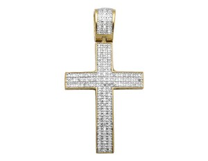Other Dome Cross 1.5 Inch 3 Rows Pave Diamond Pendant Charm 0.50ct.