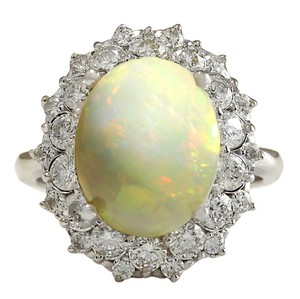 Fashion Strada 5.93CTW Natural Opal And Diamond Ring In 14K Solid White Gold
