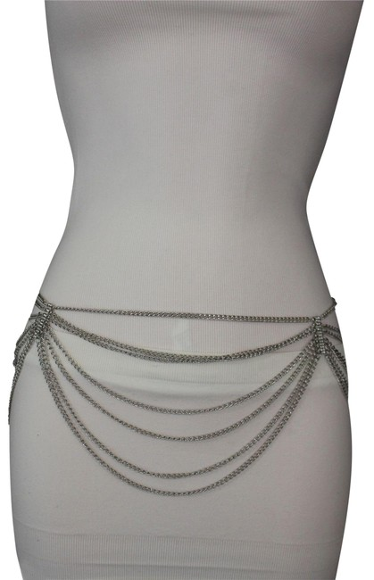 Alwaystyle4you Silver Women Metal Chains Trendy Rhinestones Hip Waist Side Belt Alwaystyle4you Silver Women Metal Chains Trendy Rhinestones Hip Waist Side Belt Image 1