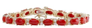 Fashion Strada 18.44CTW Natural Red Coral And Diamond Bracelet In 14K Solid Yellow Go