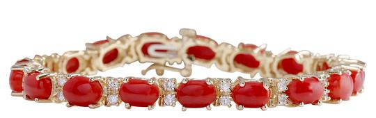 Preload https://img-static.tradesy.com/item/21252176/1844ctw-natural-red-coral-and-diamond-14k-solid-yellow-go-bracelet-0-0-540-540.jpg