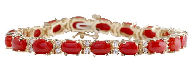 Fashion Strada 18.44ctw Natural Red Coral and Diamond 14k Solid Yellow Go Bracelet Fashion Strada 18.44ctw Natural Red Coral and Diamond 14k Solid Yellow Go Bracelet Image 1