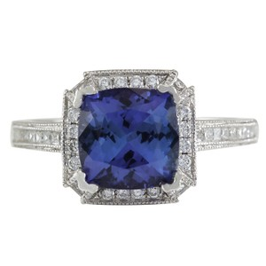 Fashion Strada 3.79CTW Natural Blue Tanzanite And Diamond Ring In 14K White Gold