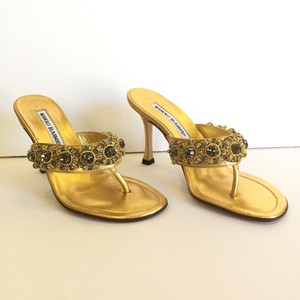 Manolo Blahnik Sandal Jewel Leather Gold Pumps