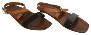 Prada Strappy Leather Patent Leather Silver Hardware Brown Sandals