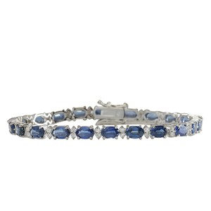 Fashion Strada 13.49CTW Natural Sapphire And Diamond Bracelet In 14K White Gold
