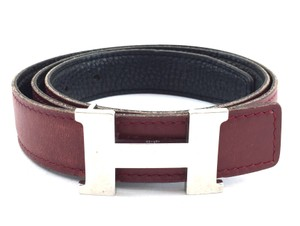 Hermès #11559 24Mm Silver H Belt Size 75 Reversible Belt Black on Red