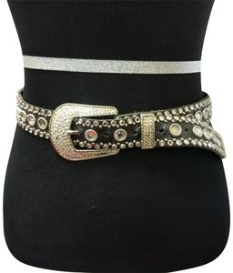 Kippys Kippys Swarovski Crystal Black Genuine Leather Belt Size M