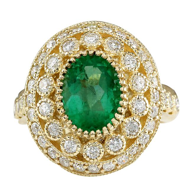 Fashion Strada 3.16ctw Natural Colombian Emerald and Diamond In 14k Yellow Gold Ring Fashion Strada 3.16ctw Natural Colombian Emerald and Diamond In 14k Yellow Gold Ring Image 1