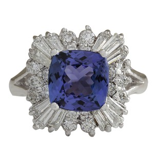 Fashion Strada 3.74CTW Natural Blue Tanzanite And Diamond Ring In 14K White Gold
