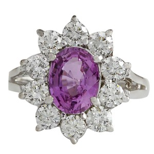 Fashion Strada 2.77CTW Natural Pink Ceylon Sapphire Diamond Ring 14K Solid White Gold