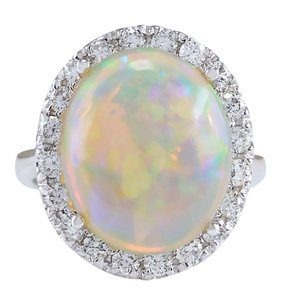 Fashion Strada 9.30CTW Natural Opal And Diamond Ring 14K Solid White Gold
