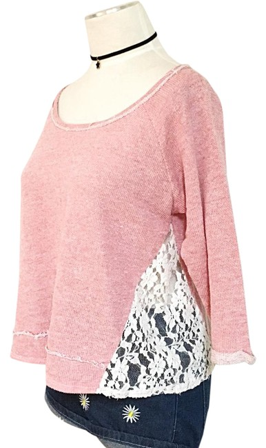 Preload https://img-static.tradesy.com/item/21252412/pink-lace-34-sleeves-distressed-boho-blouse-size-6-s-0-1-650-650.jpg