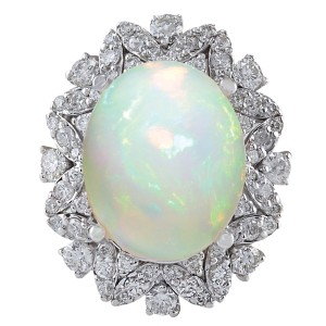 Fashion Strada 8.15CTW Natural Opal And Diamond Ring In 14K White Gold