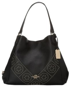 Coach Edie Edie Mini Stud Black Tote in Black/gold