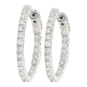 Fashion Strada 2.00 CTW Natural Diamond Hoop Earrings 14k Solid White Gold