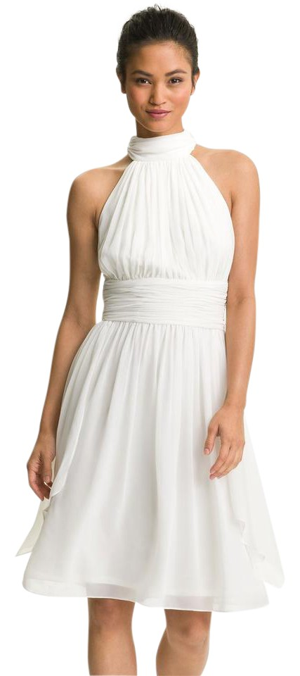 d1f027e3d9e Maggy London Ivory Ruched Chiffon Halter Short Cocktail Dress Size ...
