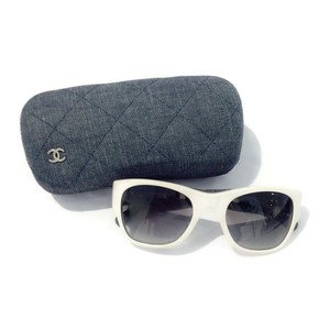 Chanel White Sunglasses With Denim Arms