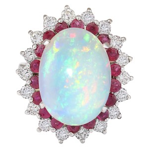 Fashion Strada 8.33 CTW Natural Opal, Ruby And Diamond Ring In14k White Gold